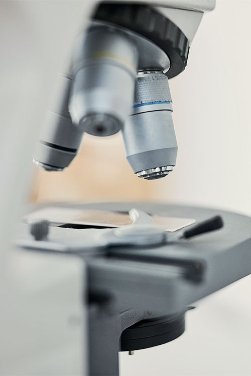 Close-up of a microscope